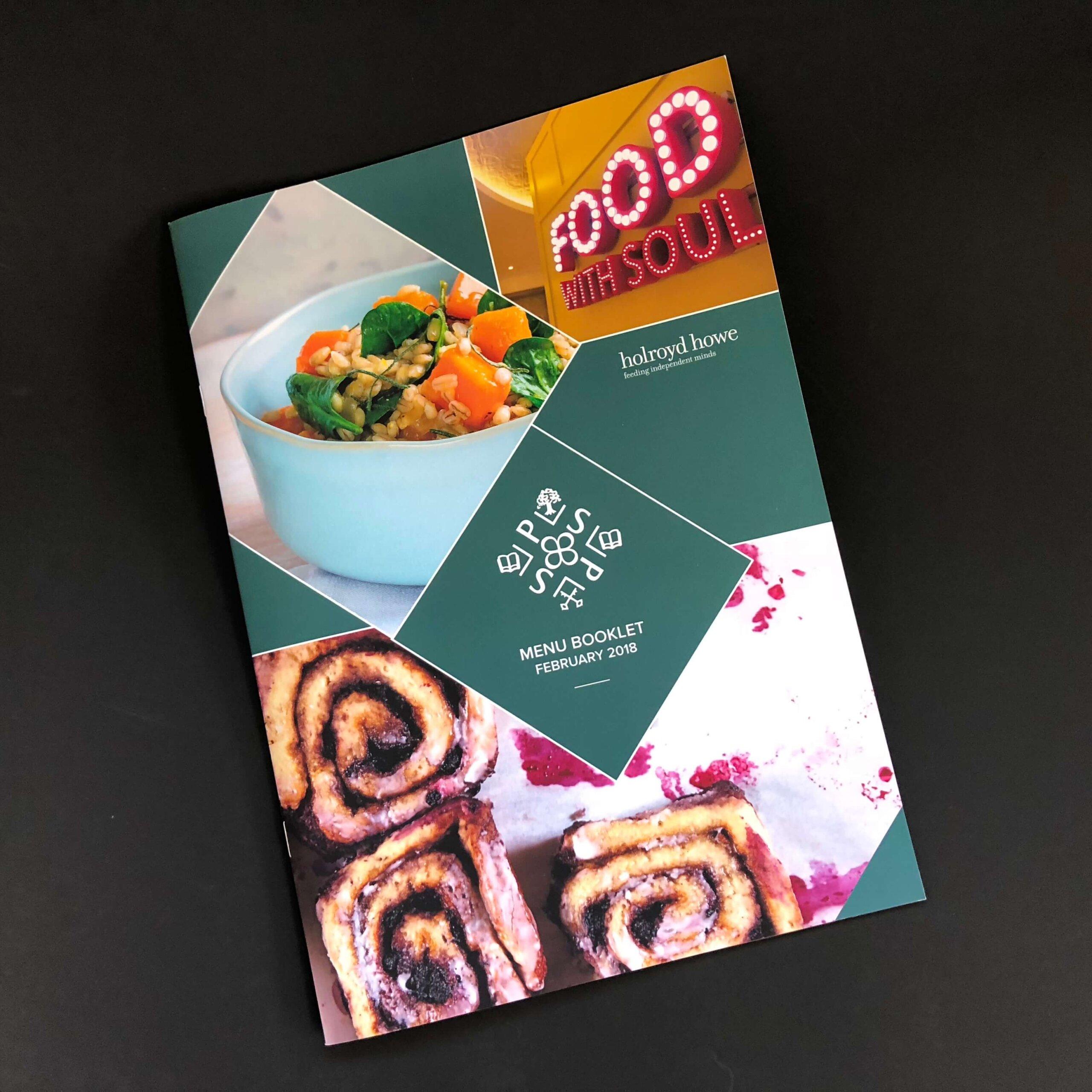 Modern printed menu